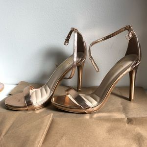 Rose Gold Strappy High Heels - size 7.5